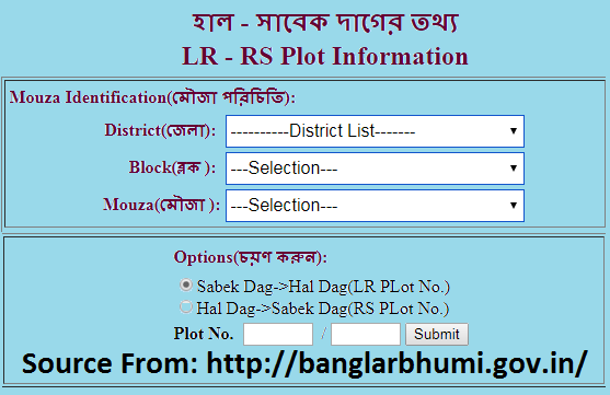 West Bengal Banglarbhumi LR-RS Plot Information Service